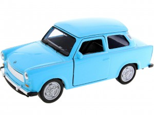niebieski Trabant 601 Metalowy Model 1:34 Welly Auto Figurka