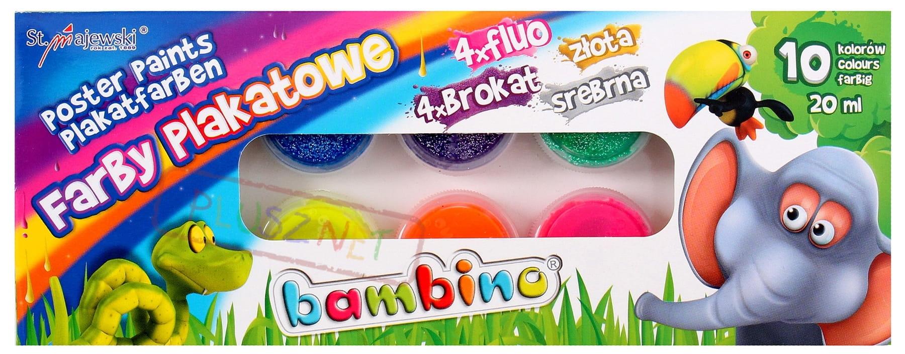 Farby Plakatowe Bambino Farbki 10 Kol Brokat Fluo Plusznet